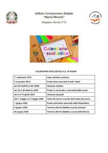 Calendario Scolastico A.s. 19 20 1