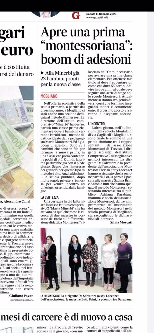 """Immagine articolo:Articolo del Gazzettino sulla classe prima """"montessoriana"""""""