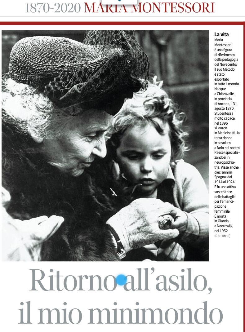 """Immagine articolo:Maria Montessori: """"Ritorno all'asilo il mio minimondo"""""""